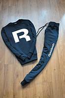 Спортивный костюм Reebok, рибок, черный, реглан, хлопковый, повседневный, белое лого, К302