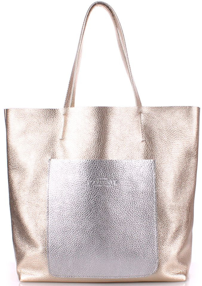 Жіноча сумка зі шкіри POOLPARTY Mania mania-golden-silver