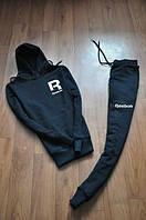 Спортивный костюм Reebok, рибок, черный, кенгуру, с капюшоном, стильный, спортивный, К334
