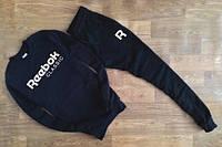 Спортивный костюм Reebok, рибок, черный, реглан, хлопок, спортивный, белое лого, в наличии, К337