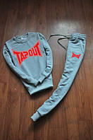 Спортивный костюм Tapout, серый, тапаут, реглан, красное лого, хлопок, спортивный, К343