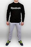 Спортивный костюм Reebok, рибок, серо-черный, реглан, трикотаж, спортивный, молодежный, К341