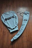 Спортивный костюм UFC, юфс, серый, трикотаж, стильный, черное лого, К379