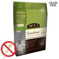 Беззерновой сухой корм на основе мяса ягненка, утки и рыбы для собак всех пород Acana Grasslands Dog 13 кг.