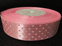 Атласная лента в горошек розовая