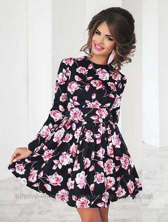 Платье женское с поясом и фатиновый подъюбник в комплекте цветы