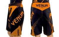 Шорты для смешанных единоборств ММА VENUM CO-5244-OR(PL, р-р M-XL, черно-оранжевый)