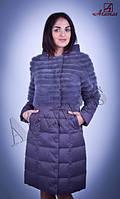Меховая куртка-трансформер из норки в комбинации с плащевкой серая DW016-2