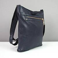 Синяя сумка-планшет кожаная молодежная Viladi, фото 1