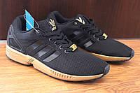 Легендарная модель Adidas ZX Flux Black - Gold (Адидас ЗХ Флакс Черные с Золотым)