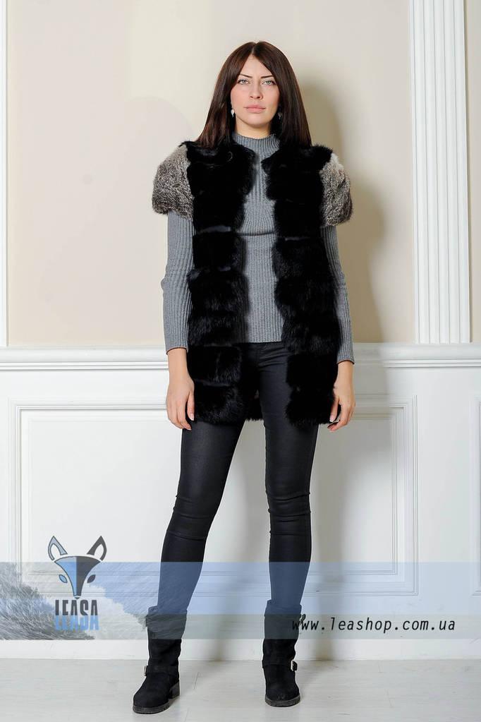 Меховая жилетка из комбинированного кролика