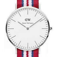 Часы с тканевым ремешком (red-silver)