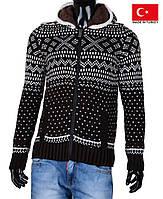 Кардиган мужской на молнии с капюшоном.Теплый свитер на зиму.