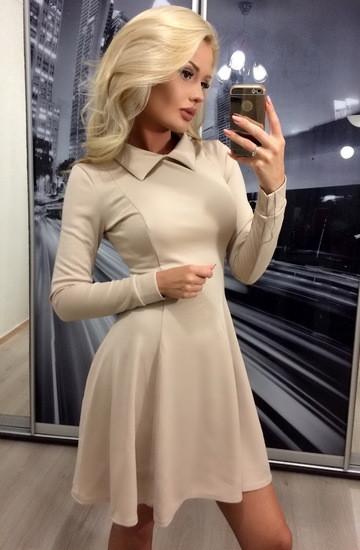 Коктейльное платье с длинным рукавом ft-283 бежевое 44-46