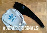 Спортивный костюм Adidas, с большим лого (голубой цвет), свитшот: серый, штаны: черные