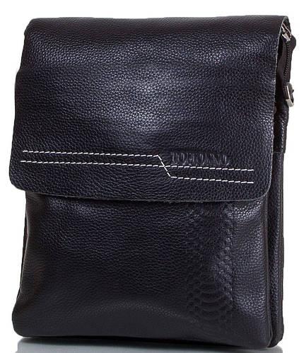 Удобная мужская сумка из натуральной кожи TOFIONNO (ТОФИОННО) TU6208P-2-black черный