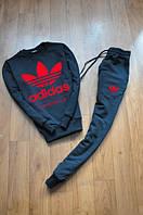 Спортивный костюм Adidas, с большим лого (красный цвет), с манжетом, черный