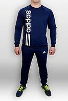 Спортивный костюм Adidas, с вертикальным нанесением лого, темно-синий