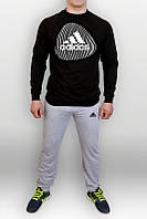 Спортивный костюм Adidas, молодежный, в разнобой черно-серый