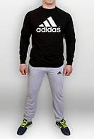 Спортивный костюм Adidas, свитшот: черный, с большим лого, штаны: серый цвет
