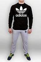 Спортивный костюм Adidas, с большим лого, свитшот: черный, штаны: серый
