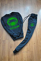 Спортивный костюм Venum, с манжетом, с большим лого (цвет: зеленый), черный