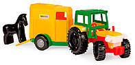 Трактор з причепом, красный прицеп с лошадкой (39215-1)