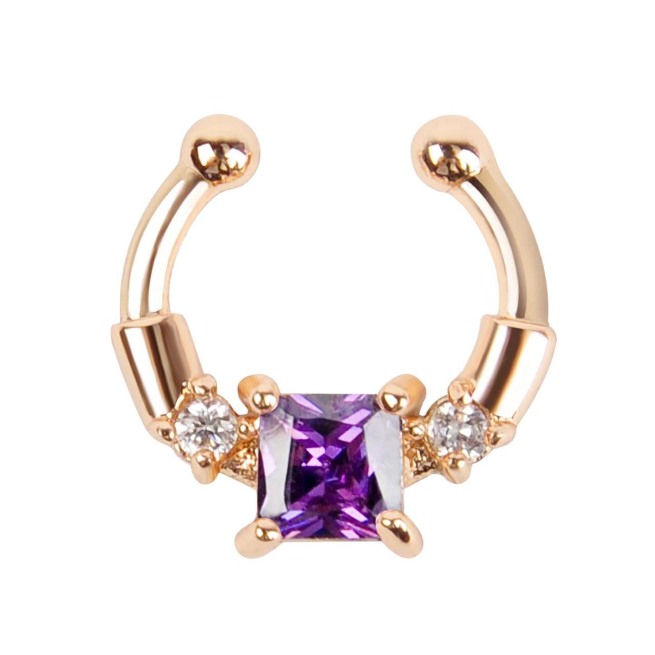 Серьга-обманка в нос Chic с фиолетовым камнем золото