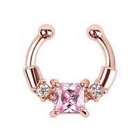 Серьга-обманка в нос Chic с розовым камнем