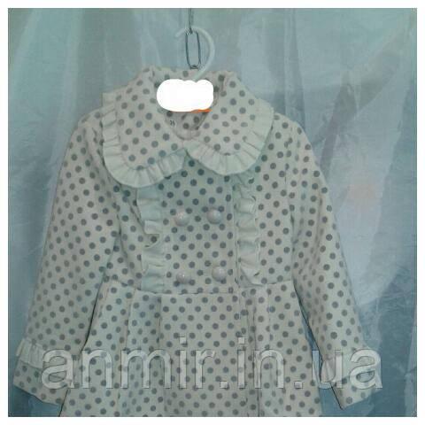 Пальто демисезонное подростковое для девочки 2-6лет,''Панда-горох'',белая, фото 1