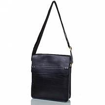 Мужская кожаная сумка черная с белой строчкой, фото 3