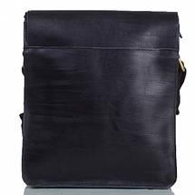 Мужская кожаная сумка черная с белой строчкой, фото 2