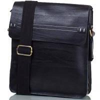Мужская кожаная сумка черная с белой строчкой