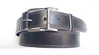 """Кожаный ремень 40 мм чёрный прошитый двойной белой ниткой пряжка """"качеля"""" хромированная"""