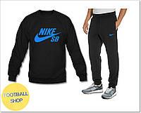 Спортивный костюм найк, черный цвет, синий логотип,  домашний, к100