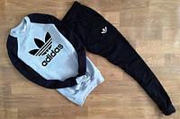 Спортивный костюм адидас корона, серое туловище, черные рукава и штаны, реглан, к665