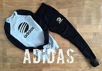 Спортивный костюм адидас, серое туловище черные рукава и штаны, молодежный, к661