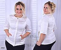 Укороченная женская куртка плащевка на синтепоне100 размеры 50,52 54,56,58