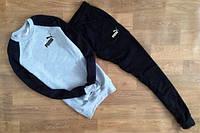 Спортивный костюм пума, серое туловище, черные рукава и черные штаны, к2717
