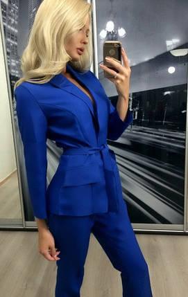 Женский брючный костюм двойка пиджак и брюки ft-274 синий, фото 2