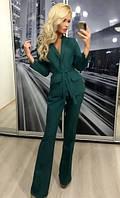 Женский брючный костюм двойка ft-274 зелёный
