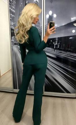 Женский брючный костюм двойка ft-274 зелёный, фото 2