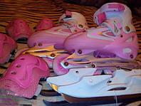 Ролики,роликовые коньки,безшумные,роздвижные,детские в наборе с ледовыми коньками и защитой