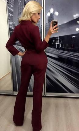 Женский брючный костюм двойка ft-274 бордовый, фото 2