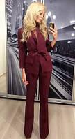 Женский брючный костюм двойка пиджак и брюки ft-274 бордовый