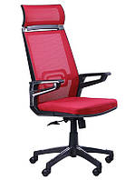 Кресло Tesla сетка красная/каркас черный