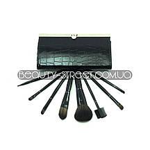 Набір кистей для макіяжу 8 штук в гаманці чорні