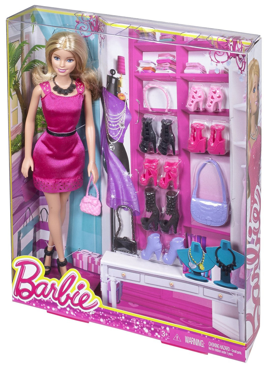 Детская кукла Барби Barbie с комплектом обуви и сумочек оригинальная