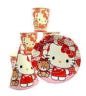 """Набор """"Hello Kitty -2"""". Тарелки (18см) -10шт. Стаканчики (250мл) -10шт. Колпачки (16см) -10шт."""