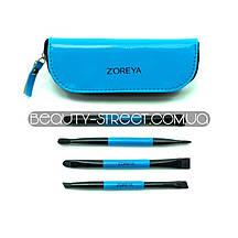 Набір кистей для макіяжу 4 штуки в гаманці ZOREYA сині